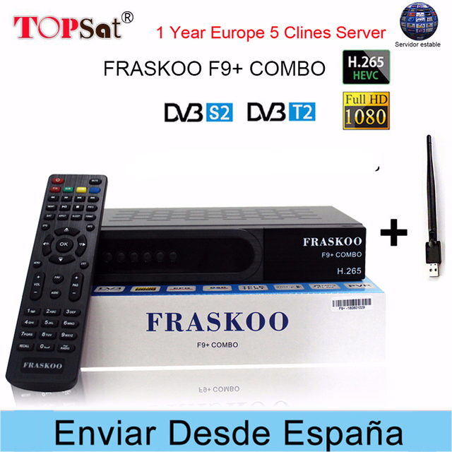 FRASKOO F9+ COMBO DVB-S2/T2 HD Satellite TV Receiver +USB WIFI Europe Clines for 1 Year Spain H.265 decoder