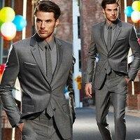 New custom men's suits lapel dark gray business casual suit groom groom suit custom jacket + pants + tie