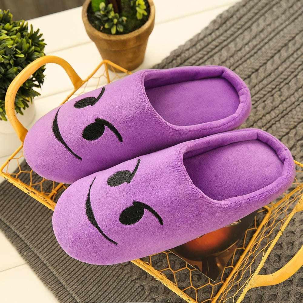 Unisex Warm Emoji Slipper IndoorsAnti-slip Winter Huis Schoenen Slippers voor Vrouwen Zachte Fluwelen Winter Warme Schoenen voor Slaapkamer