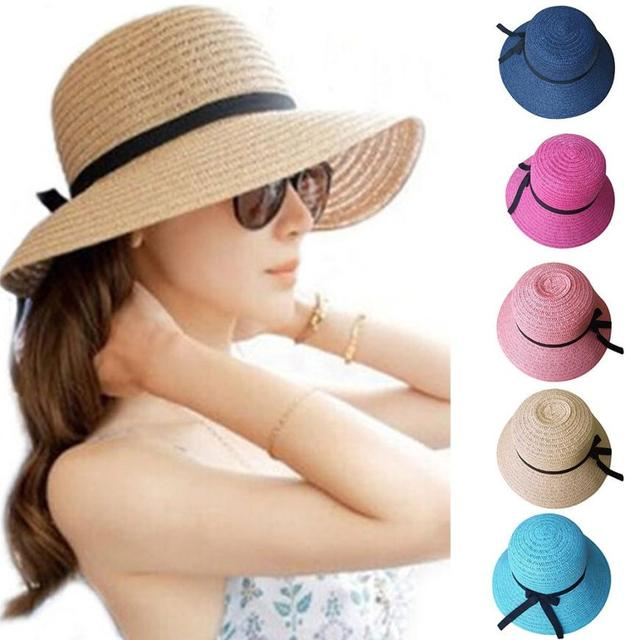 f2f3cf85 Floppy Foldable sun caps Ribbon Round Flat Top Straw beach hat Panama Hat  summer hats for women straw hat snapback gorras