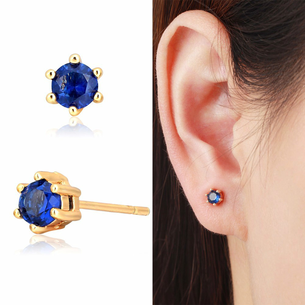 6Colors Small Slim Round CZ Stud Earrings For Women Kids Girls Baby Child Men Piercing Jewelry 6 Claw Gold Color 4mm Aros Aretes