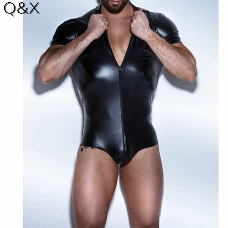 XX79 Men Bodysuit Faux leather Latex Bodysuit Gay Underwear Stage Dance  Wear Corsets Men Body Jumpsuit