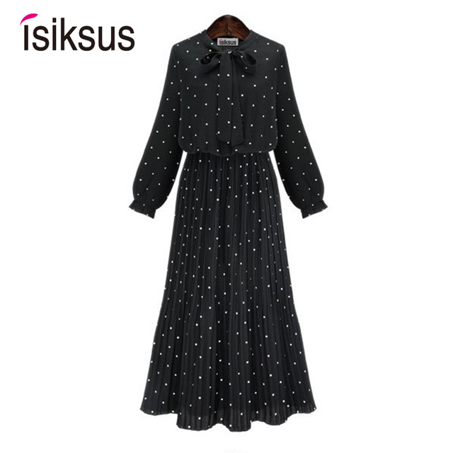 Isiksus Black Polka Dot Long Dress Women Formal Dresses Elegant Party Dress Ladies Autumn Vintage Chiffon Plus Size DR078