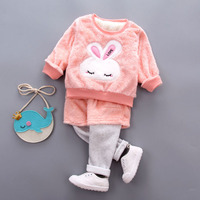 Winter Baby Girls Sets Clothes Long Sleeve Newborn Baby Girls Clothing Baby Cute Rabbit Pattern Sets