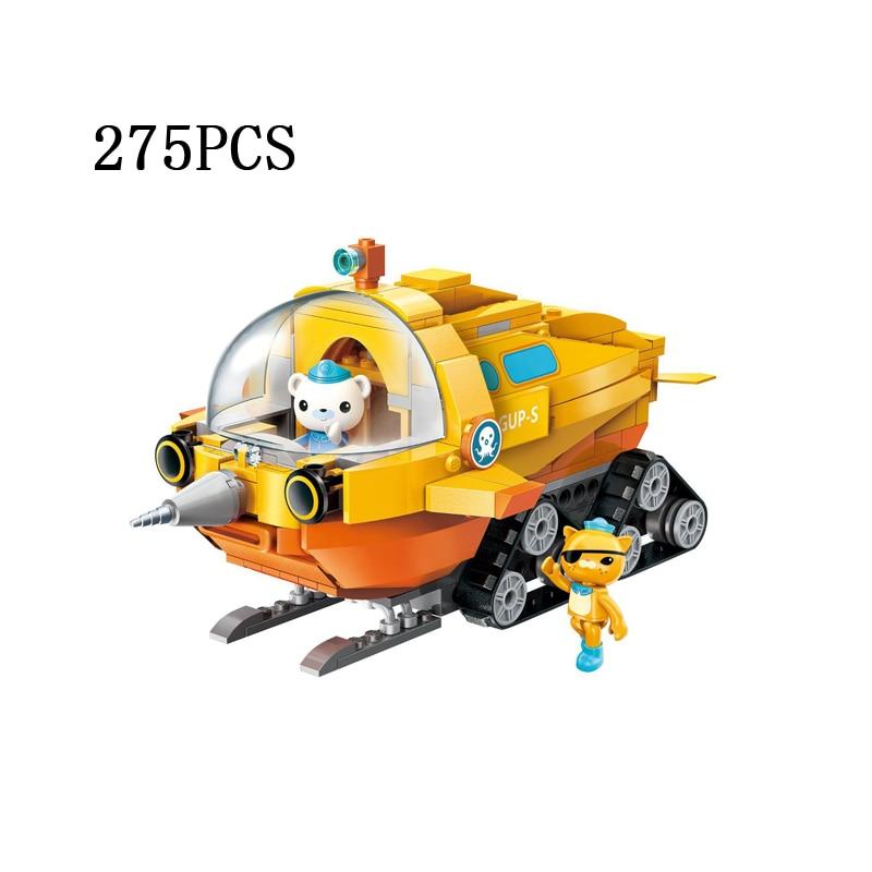 Cartoon scenes Octonaut vehicle building block captain Barnacles Kwazii figure GUP S narwhal crawler type submarine brick toys