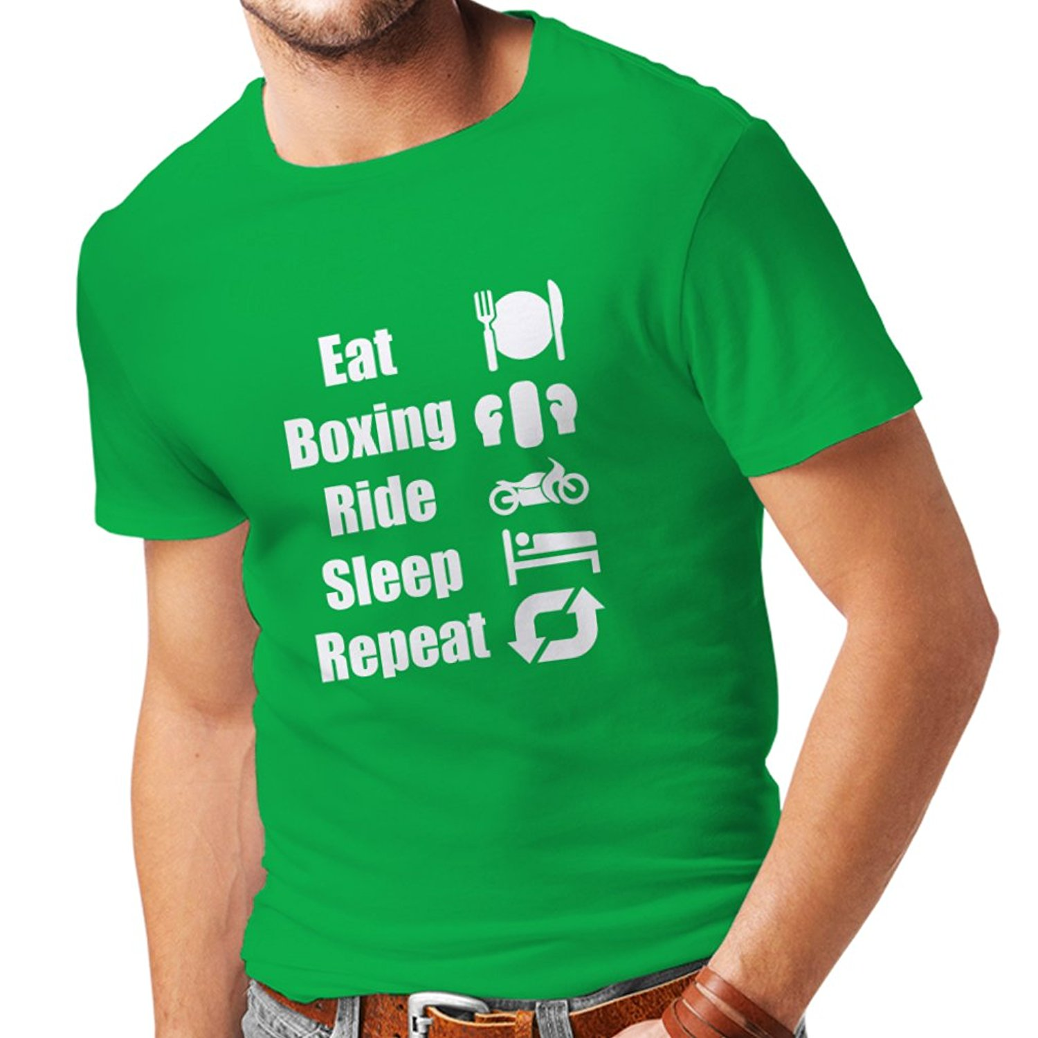 Gildan T shirts for men Eat Boxinger Ride Sleep Repeat - for fighters and riders