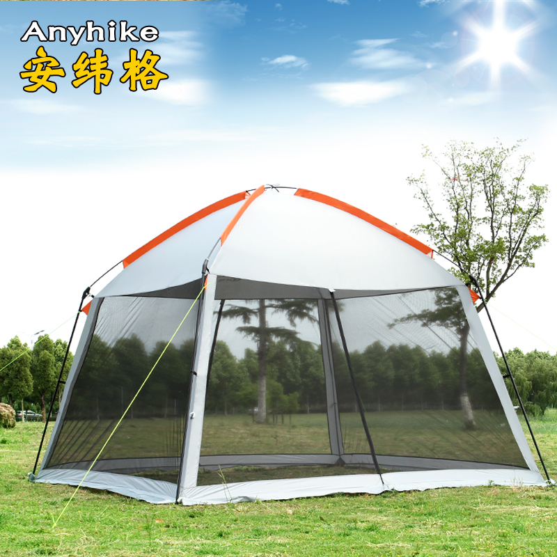High quality single layer 5-8person family party gardon beach camping tent gazebo sun shelter pergola mosquito net 2colors