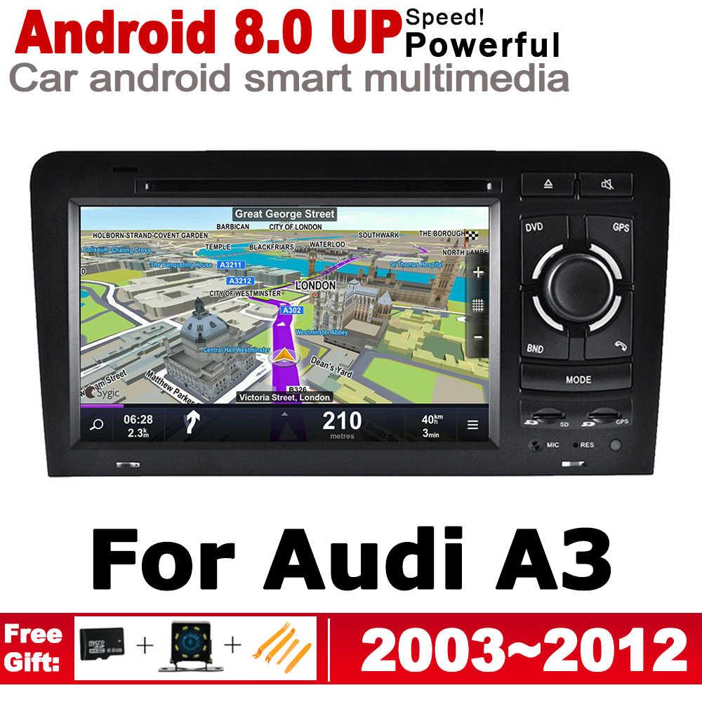 """7 """"HD IPS Dsp ステレオアンドロイド 8.0 アップ車 DVD GPS ナビ地図アウディ A3 8 1080P S3 2003 〜 2012 MMI マルチメディアプレーヤーラジオ無線 Lan システム"""