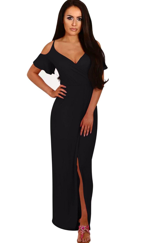 24619476d3 NORA TWIPS Women Sexy V Neck Ankle-Length Empire Waist Summer Dress 2018  New Solid Long Beach Dress Maxi Dress Black Blue S-XL