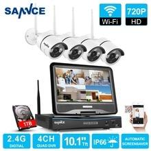SANNCE 4CH 720 P WI-FI Système de Sécurité Vidéo avec 10.1 »LCD Moniteur Écran 1280TVL Sans Fil NVR CCTV Système 1 TB Disque Dur