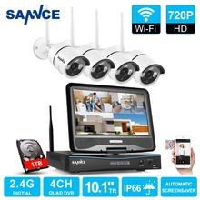 "SANNCE 4CH 720 P WI-FI Sistema de Seguridad de Vídeo con 10.1 ""LCD Monitor Pantalla 1280TVL Inalámbrica NVR Sistema CCTV 1 TB de Disco Duro"