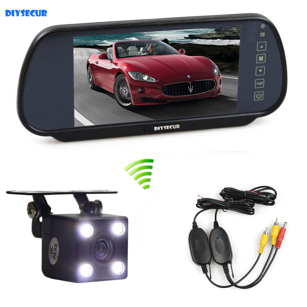 цены  DIYSECUR 7 inch TFT LCD Display Car Mirror Monitor + LED Night Vision Rear View CCD Camera Wireless Transmission Parking System