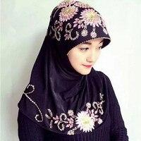 Women Hijabs Scarf Turban Wraps Muslim Scarves For Ladies Headscarf Flower Beads Cotton Headband Islamic Prayer Coverings