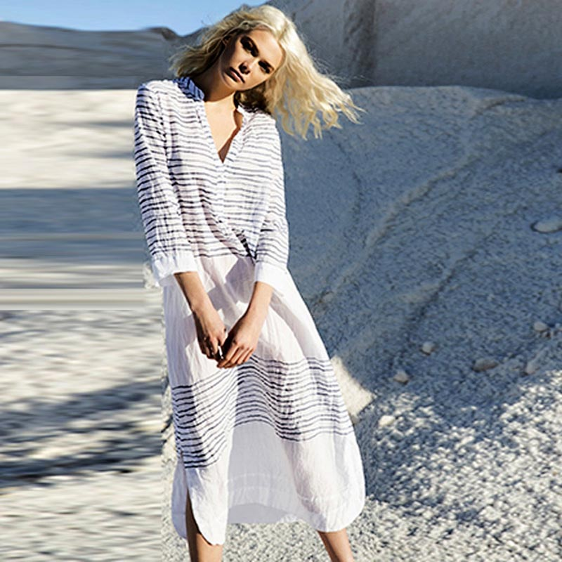 6bed47d8c4f Stripes Beach Tunic Sexy Swimsuit Cotton Beach Dress Beachwear Women Cover  Ups