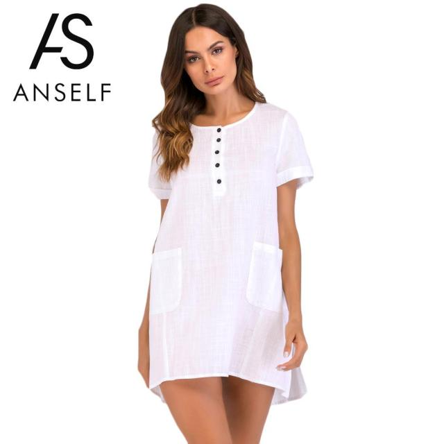 1d8cc0fb53 ANSELF XXXL 4XL 5XL Plus Size Cotton Linen Dress Casual Women Mini Loose  Dress Short Sleeve O-Neck Split Pocket Sexy Shirt Dress