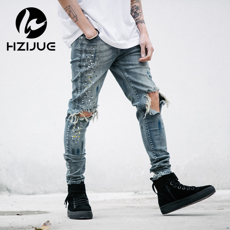 HZIJUE mens designer clothes denim jumpsuit jean pants korean rock splash-ink stretch moto distressed ripped skinny jeans men