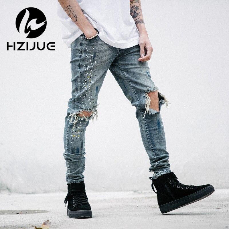 HZIJUE ropa de diseñador para hombre denim mono jean pantalones coreanos rock splash-ink stretch moto desgastados rasgado skinny jeans hombres