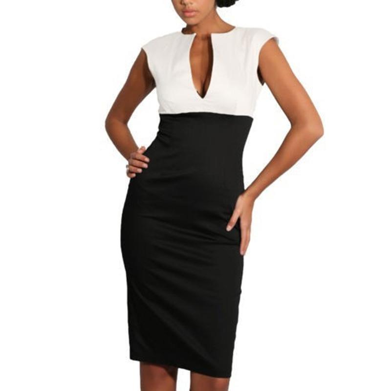 AAMIKAST New Fashion women dress Elegant V-neck Sleeveless Work Office Sheath Patchwork Pencil Party Cocktail Body Women Dress