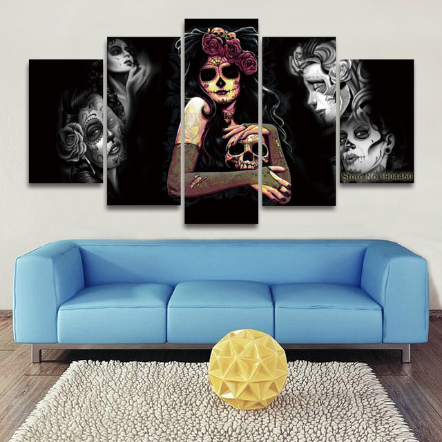 5 Panel Painting Canvas Wall Art Sugar Skull Modular Picture Hd Prints Artwork For Home Decor
