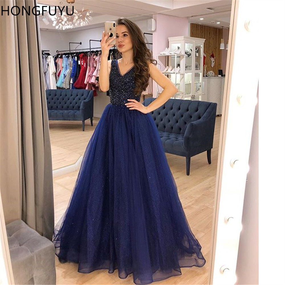 HONGFUYU Sparkly Beaded   Prom     Dresses   A-line Sequins Tulle robe de soiree Formal Party Gowns Lace Up Corset Evening   Dress   Train