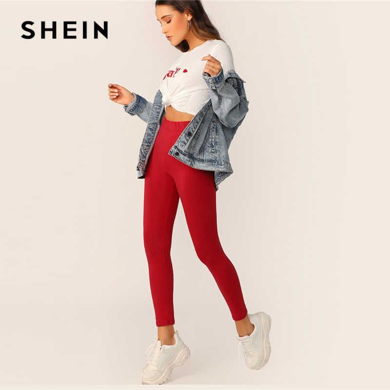 Leggings lisos de cintura elástica 2019 negro rojo primavera otoño Leggings sólidos elásticos ropa de entrenamiento para mujer
