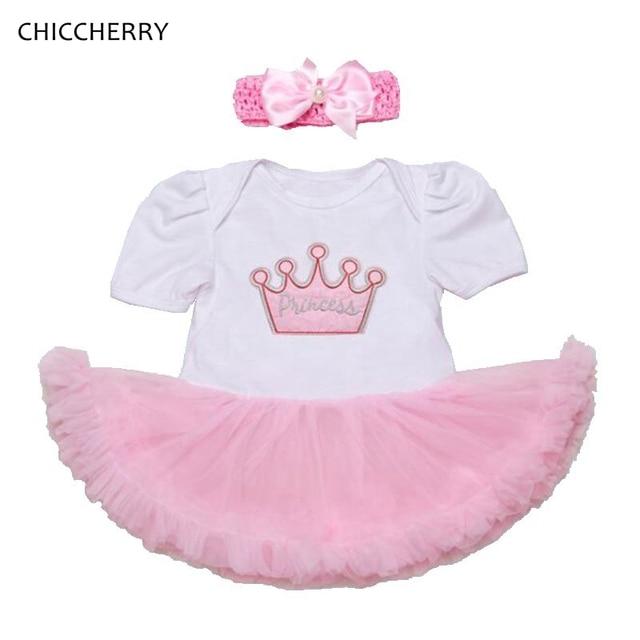 e930bf5be Pink Crown Princess Baby Lace Romper Dress Infant Tutu Headband Set ...