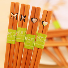 Free shipping Tableware heart butterfly cutout eco-friendly slip-resistant chopsticks natural wood pointed toe
