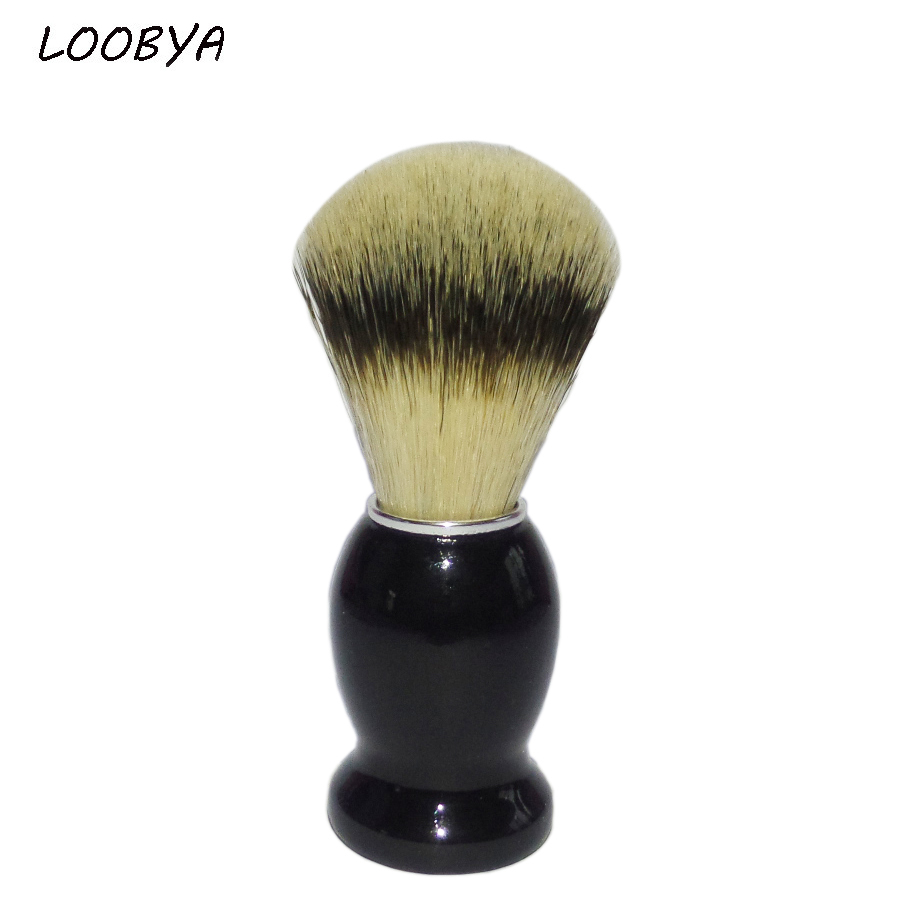2pc/set Shaving Brush Man Beard Barber Salon Tool with Synthetic Hair Black Wood Handle