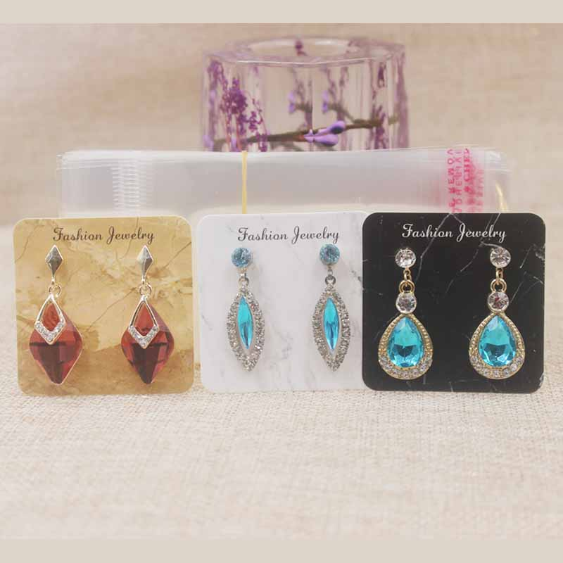 Zerong Marble design earring package tag card 5*5cm new <font><b>fllower</b></font>/Dreamcatcher print new earring packing card 25pcs+25oppbag/lot image