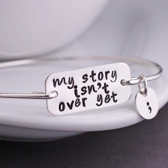 Cheap letter my story isn 39 t over yet bangle bracelet 2016 for Semicolon tattoo price