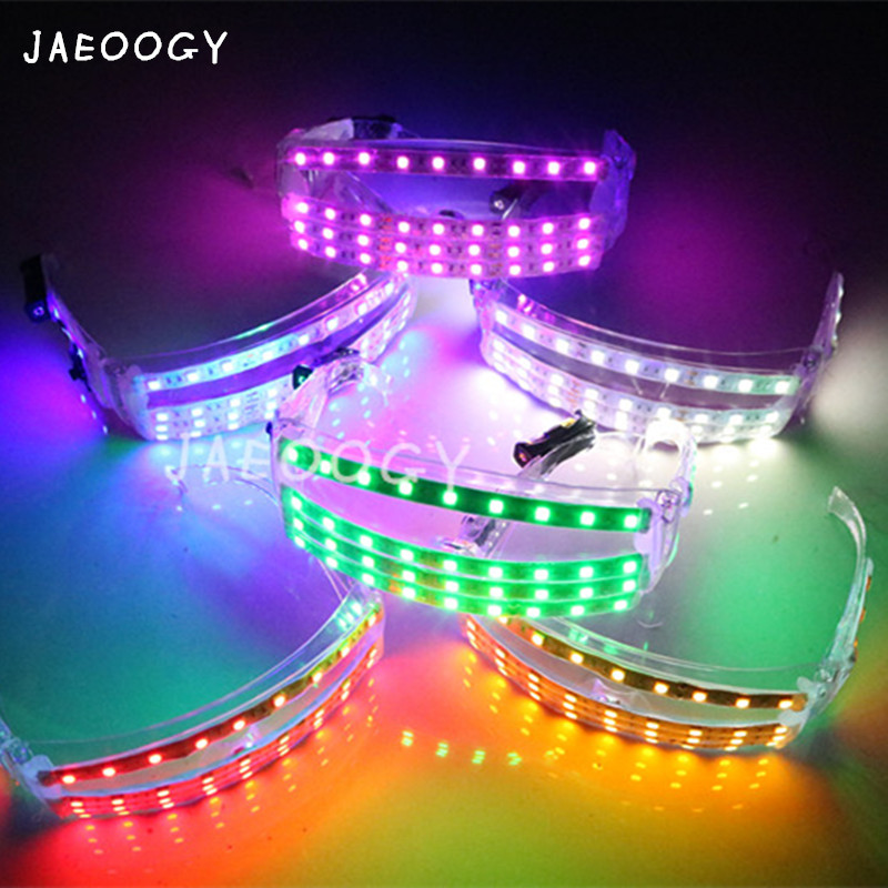 2019 New ree Shipping LED Light Glasses Stage Concert Performance Fluorescent Props Mask Birthday Party Party Lights Glasses in Glow Party Supplies from Home Garden