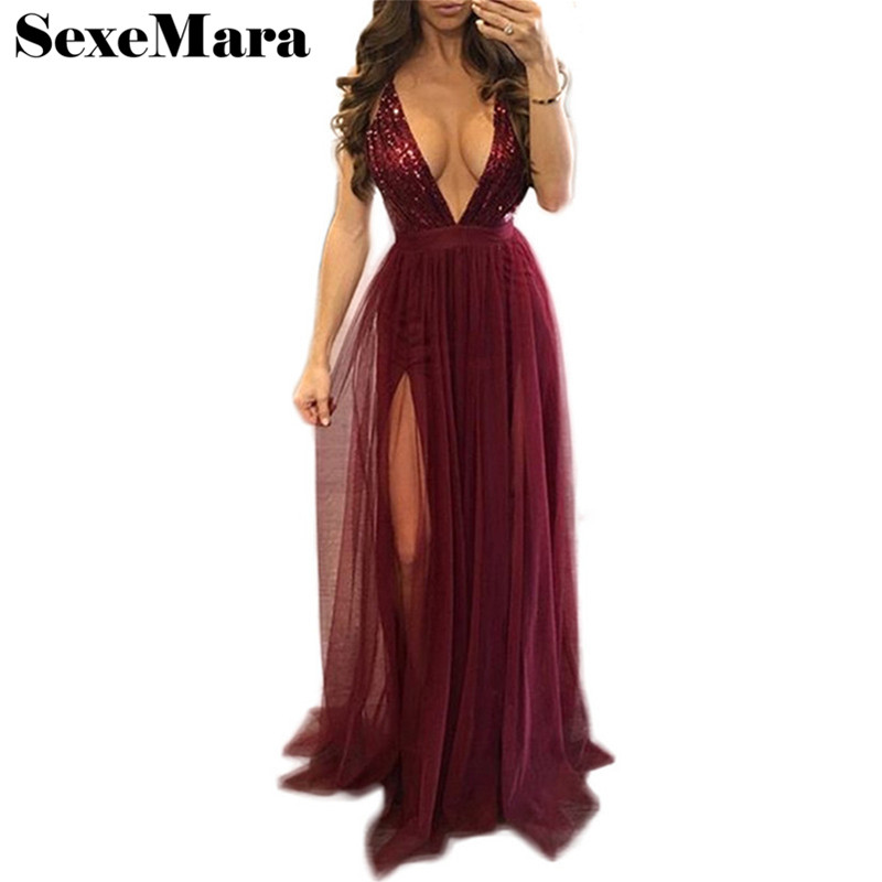 Buy Sexy Deep V Neck Backless Wine Red Sequin Dress Vintage Slit Fit and Flare New Year Party Maxi Dresses Vestidos D29-AE97 for $17.71 in AliExpress store