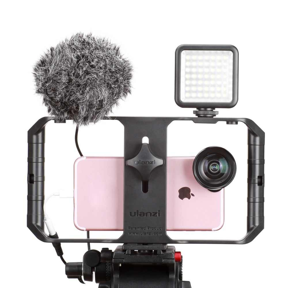 Ulanzi Новый U-Rig Pro Видео Комплект смартфон видео Шестерня установка ручной микрофон светодиодный держатель лампы для iPhone8 мобильного кинематографа