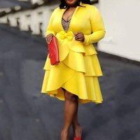 Yellow Women Dress 2019 Autumn Long Sleeve Mid Calf V Neck Asymmetric Pullover Layered Dress Ruffles African Midi Dresses