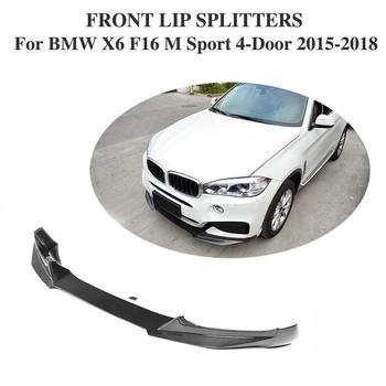 Carbon Fiber Front Bumper Chin Protector Spoiler Lip for BMW X6 F16 M Sport M Tech 4-Door 2015 2016 2017 2018 Year image