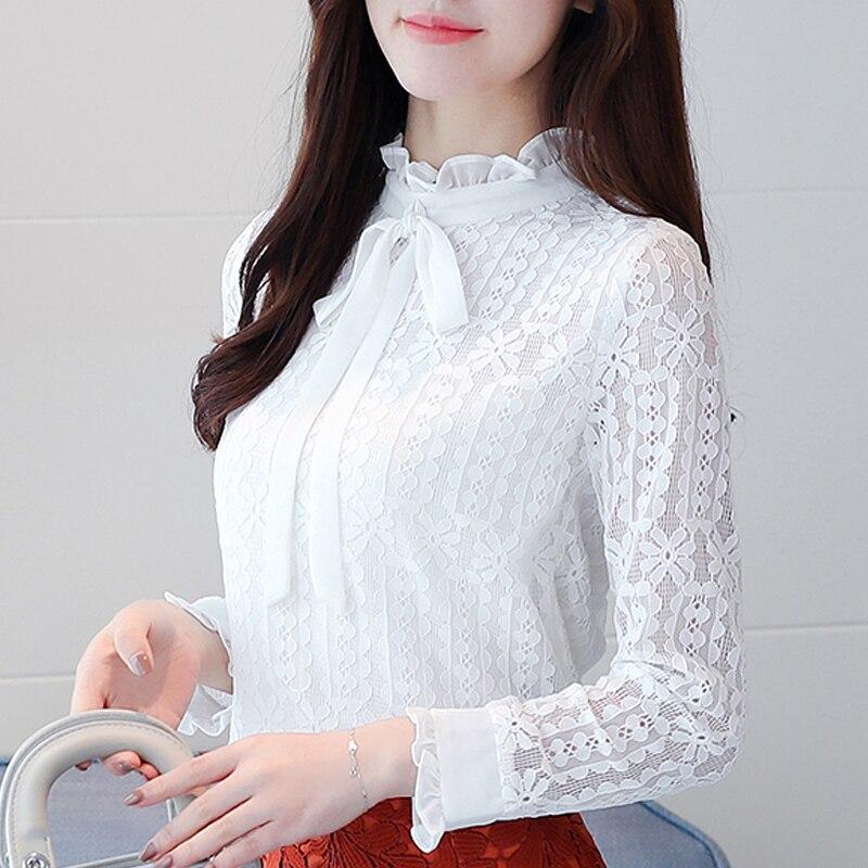 New 2019 Plus size Women clothing White lace   Shirt   Tops Cutout basic female Elegant long-sleeve Lace   Blouses     shirts   S-3XL 608i3