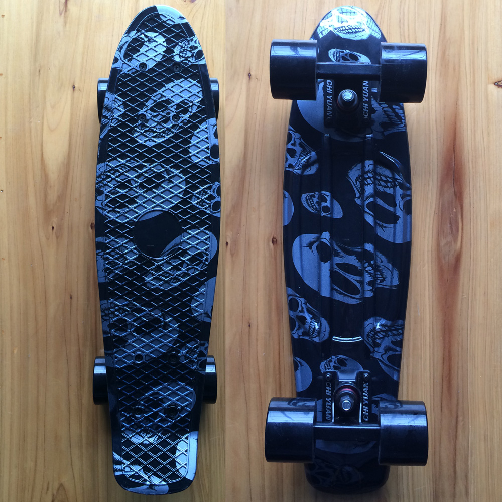 Plastic Skateboard  Mini Cruiser 22 X 6 Retro Longboard Skate Long Board Skull Graphic Printed peny skateboard wheels longboard 22 retro mini skate trucks fish long board cruiser complete tablas de skate pp women men skull
