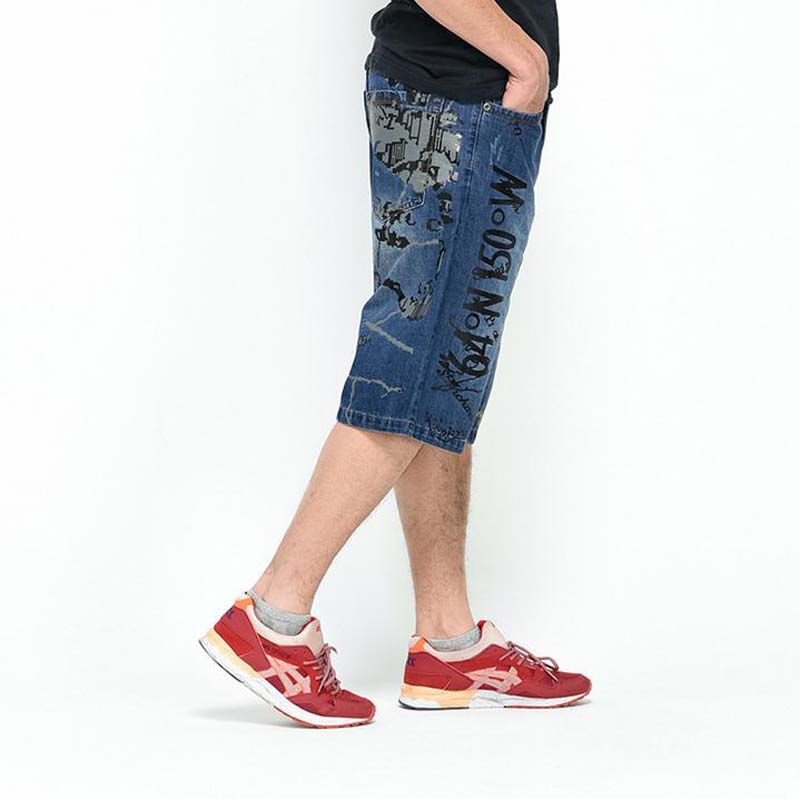 ФОТО Summer New 2016 Fashion Plus Size Hiphop Jeans Men Trousers Thin Calf Lenght Pants Loose Man's Baggy Pants #1802-1