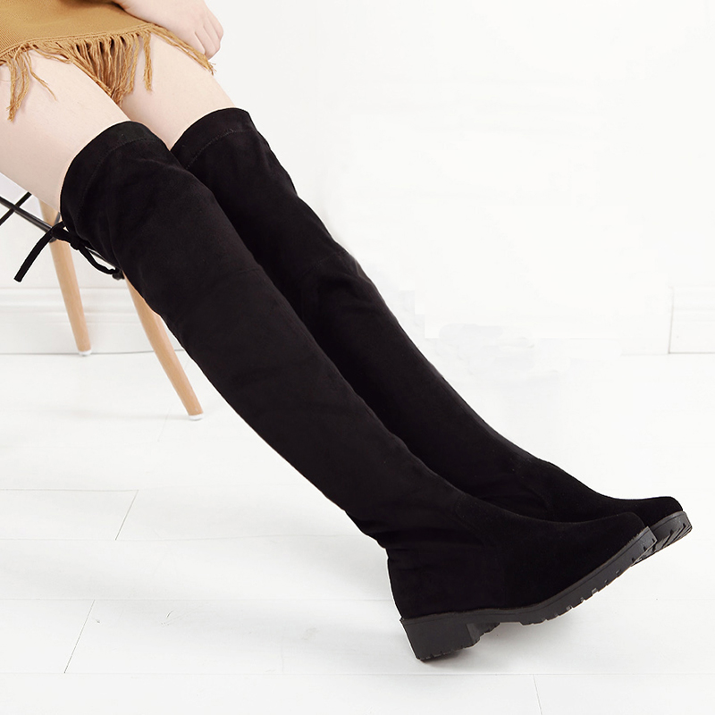 2016 New Fashion Winter Women Boots Over The Knee Thigh High Boot Suede Soft Leather Fur Warm Plush Sexy Lady Bottes Femmes new bottes femmes 2015 calzado mujer autumn winter knee high boots suede womens chunky thick heels sexy fashion winter boots