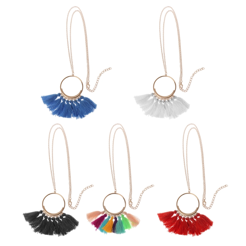 Bohemian Sector Necklace Women Long Tassel Fringe Dangle Necklace Jewelry Exquisite Tassel For Necklace
