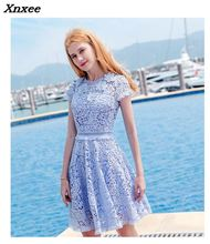 2018 New High Quality Lace Dress Women Bohemian White Blue Autumn Casual Slime Dresses O-neck Hollow Out Party Beach Xnxee