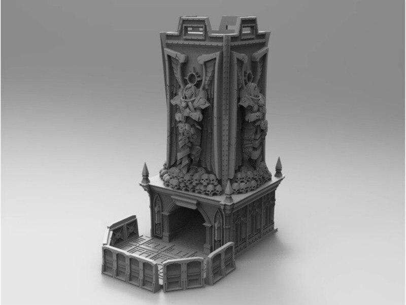 Dés tour donjons et Dragons mdn Miniature château modélisation avec plateau résine Figure modèle Kit RPG jeu Kits non peints