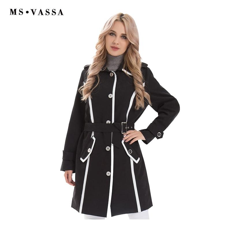 MS VASSA Women coat Spring long Trench coat 2019 new fashion Windbreaker turn down collar adjustable