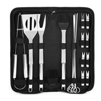 20pcs/set Stainless Steel BBQ Grilling Tool Set Kitchen Baking Handle Barbecue Utensils with Oxford Bag for Outdoor Camping