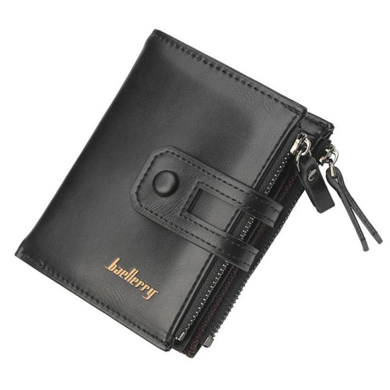 Baellery Men Wallet Brand Wallet Double Zipper&Hasp Design Small Wallet Male High Quality Short Card Holder Coin Purse Carteira