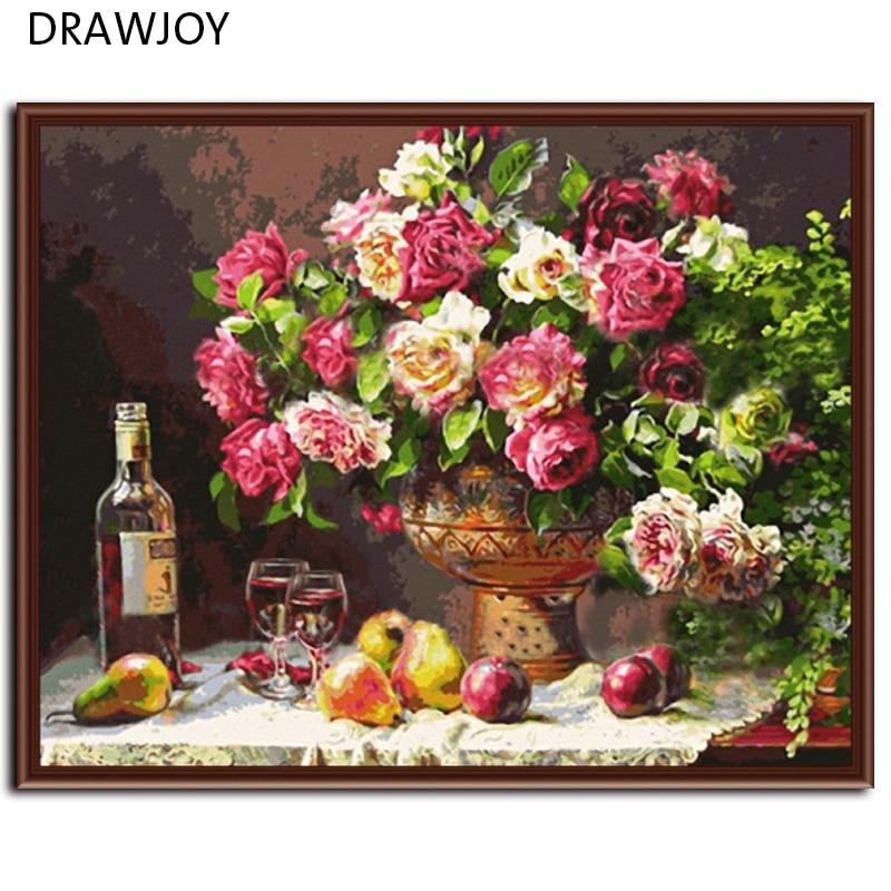 Frameless foto sul muro pittura acrilica by numbers astratto disegno dai numeri colorare dai numeri 40x5 CM Rosa G278