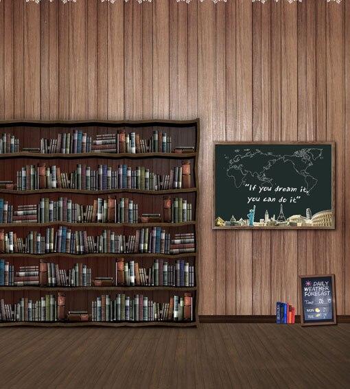 Allenjoy 10*20feet(300*600CM) Photography Background Bookshelf blackboard map studio backdrops