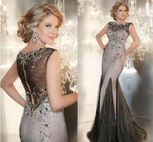 2015 luxus Meerjungfrau Mutter der Braut Kleid Lange Abendkleider Kristalle Perlen Abendkleid Satin und Organza Mutter Kleid