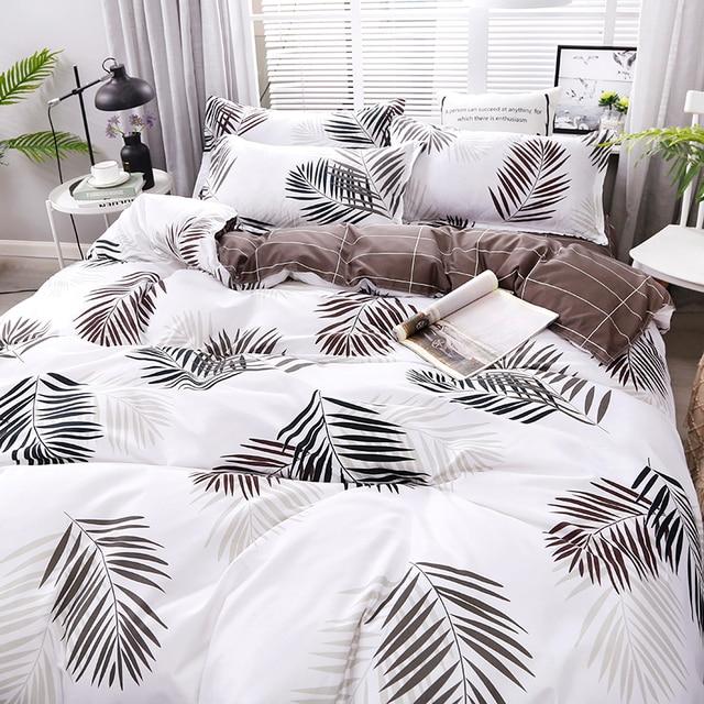 Lá mới In Ấn Chất Lượng Cao 4 cái/bộ Bộ Đồ Giường Đặt Giường Lót Duvet Cover Tấm Ga Trải Giường Gối Che Bộ