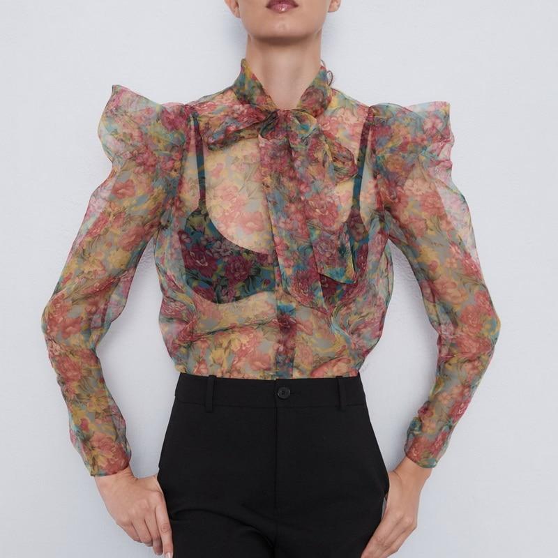 Sexy Women Blouse Summer 2019 New Fashion Transparent Organza Floral Prints Bow Collar Modern Lady See Through Ruffle Shirts